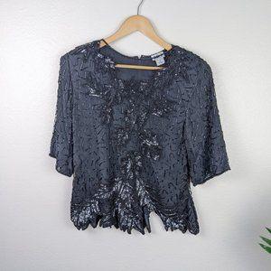 Vintage 80s 90s Silk Sequin Beaded Blouse Black L